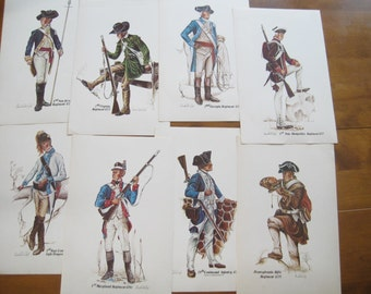Lot of 8 Unframed Prints of Revolutionary War Soldiers, colorful 16 x 10 Militia State Infantry Men, Colonial Soldiers
