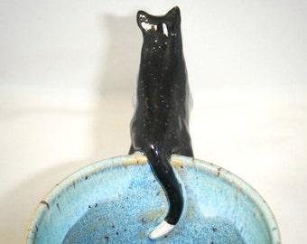 Cat Mug Tuxedo Cat Coffee Cup Blue Kitten Tea Cup Handmade OOAK