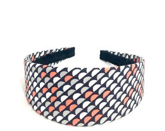 Retro Scallops Headband in Dark Navy, White, Coral and Gray - Choose width from Skinny to Wide - Girls & Adult Headbands