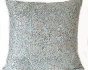 Pillow Cover - Blue - Silver - Paisley - Decorative - Cushion Cover