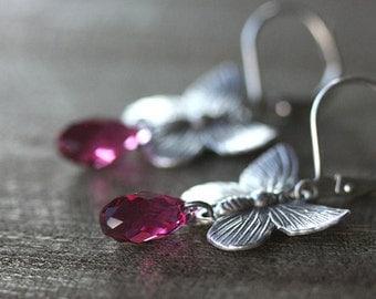 Antiqued Silver Butterfly Earrings with Fuchsia Swarovski Teardrops