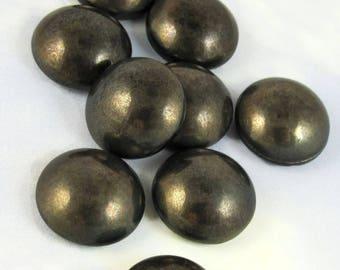 24 pcs Bronze Black Vintage Glass Cabochon 16 mm Stones 24 pc S-338 BULK 1