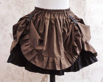 Brown Steampunk asymetric skirt - steampunk clothing-steampunk skirt-brown pinstripes skirt-pirate skirt -buckle - ruffled skirt-gears