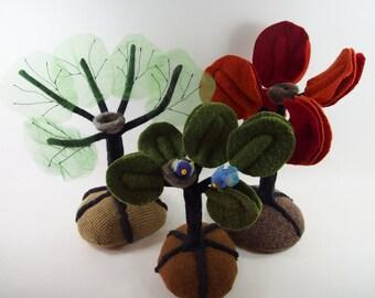 Fabric tree, tree with birds, autumn tree, summer tree, springtime tree, waldorf tree, nursery decor, classroom art,