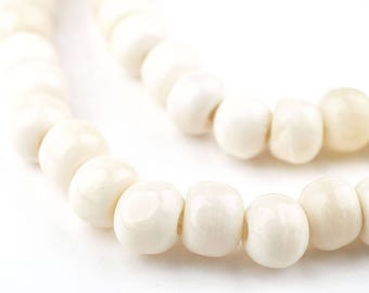108 White Bone Mala Beads: Mala Necklace Yoga Meditation Genuine Bone Beads Nepal Mala Beads White Mala Beads (BON-RND-WHT-412)