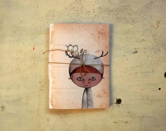 deer child pocket journal blank notebook -  hand  binding travel Journal - woodland