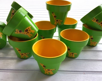 Small Flower Pots - Painted Flower Pots - Seed Planting Favors - Kid's Party Favors - Small Planters