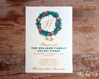 25 Holiday Dinner Party Invitations - Lush Christmas Wreath & Monogram - By My Lady Dye