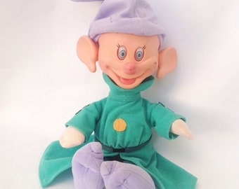 "Vintage Walt Disney Snow White & the 7 dwarves 14"" Dopey dwarf doll Press head his ears wiggle Disneyworld Disneyland"