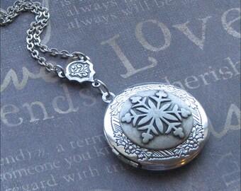 Silver Snowflake Locket - Enchanted Winter - By TheEnchantedLocket