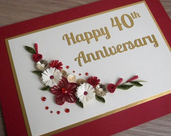 Quilled 40th Ruby Wedding Anniversary Card Handmade Paper Quilling