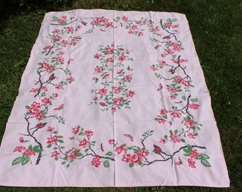 "Pink Tablecloth Printed 52"" x 65"" Pale Pink Background Birds Butterflies Dragonflies Flowers Large VINTAGE by Plantdreaming"