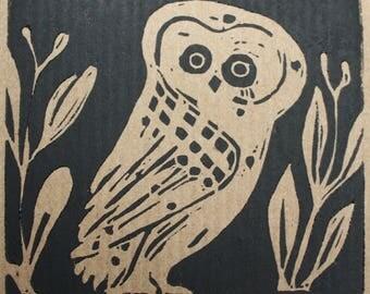 Skyphoi Owl lino print