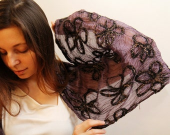 Nuno felted scarf shawl merino wool and silk with flowers feminine romantic fashion for her-Lace Flower