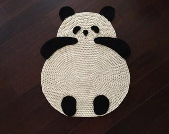 Panda Rug, Crochet Panda Rug, Floor Rug, Crochet Rug, Children Room Rug