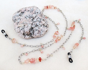 Eyeglass Chain, Gold Wire Wrapped Cherry Quartz, Gunmetal Chain, Salmon Pink, Flamingo, Handmade Jewelry, Necklace for Reading or Sunglasses