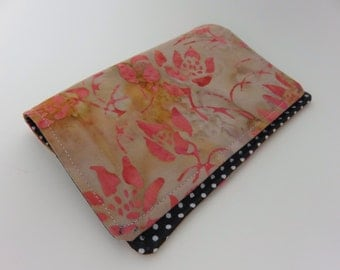 Passport Cover in Orange and Tan Floral Batik Print