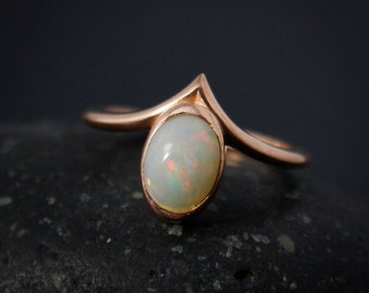 Australian Opal Point Ring, Oval Opal Ring, October Opal, Statement Ring