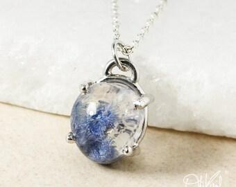 Round Blue Dumortierite Pendant Necklace – 925 Sterling Silver