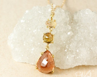 Yellow Tourmaline & Peach Pink Tourmaline Teardrop Necklace - Layering Necklace
