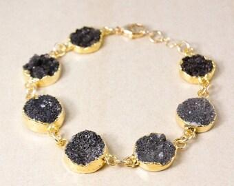 50% OFF Gold Black Druzy Bracelet - Multi-Gemstone Bracelet - Fall Jewelry