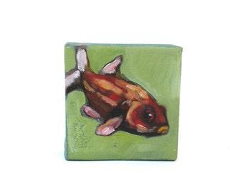 original  painting   ...   miniature  acrylic ...  tiny fish painting