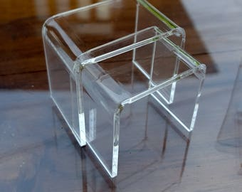 Modern miniature CLEAR Acrylic Nesting End Table Coffee Table 2pc Scale 1:12 for dollhouse