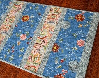 Quilted Table Runner with Flowers and Paisley in Blue with Red Pink Yellow and Green, Quilted Table Topper, Quilted Tablecloth, Table Quilt