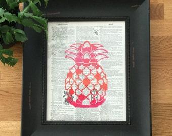 Block Print - Pineapple - Tropical - Artwork