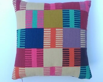 Handmade multicoloured Navajo pattern cushion