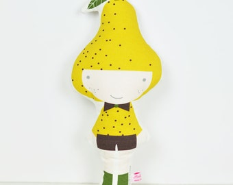 Pear cloth doll in yellow