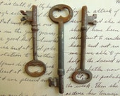 3 Vintage Rusty Skeleton Keys for Collage Assemblage Jewelry Making