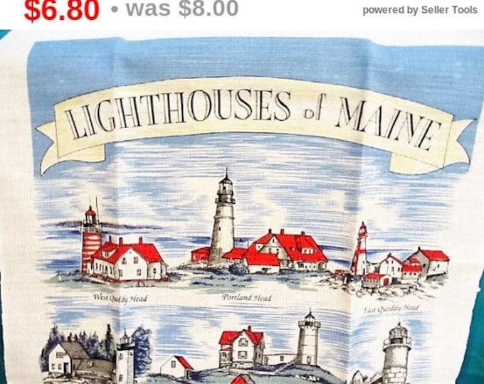 Lighthouses Of Maine Tea Towel Souvenir, Kitchen Towel Lighthouses, Souvenir From Maine, Tour Tea Towel, Gift Towel From Maine, Themed Towel