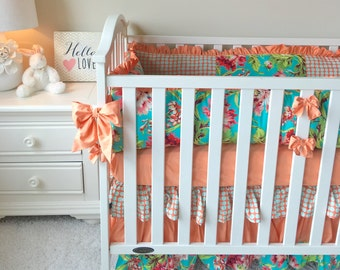 Coral Floral Bedding Sets for Baby Girls, Peach Crib Set, Peach Baby Bedding
