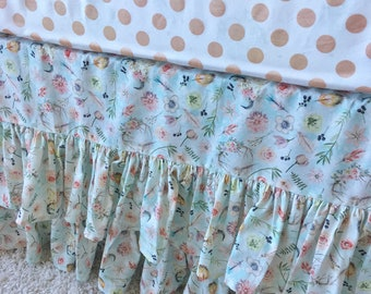 In Stock and Ready to Ship Boho Chic Crib Skirt, Mint Crib Skirt, Boho Ruffled Crib Skirt, Mint Ruffled Crib Skirt, Boho Crib Skirt