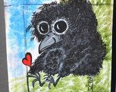 Baby Bird/Crow Art, Nature/Love/Wildlife Original, Acrylic Painting, Discovery