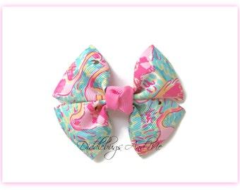 Flamingo Pinwheel Bow, Girls Hair Bow,  Pink Flamingo Bow, Toddler Hair Bow, Girl's Pinwheel Bow, Pink Flamingo Bow, Beach Hair Bows