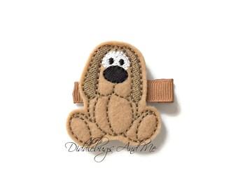Tan Puppy Hair Clip, Girls Dog Hair Clip, Tan Doggie Hair Clip, Felt Hair Clips, Girls Hair Accessories, Hair Clips For Toddlers, Pup Clips