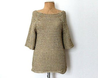 Sale Hand Knitted Cotton Sweater Beige Slouchy Sweater Gold Armor Knit Sweater Medium Size Sweater Gift for Her Organic Sweater Crochet cove