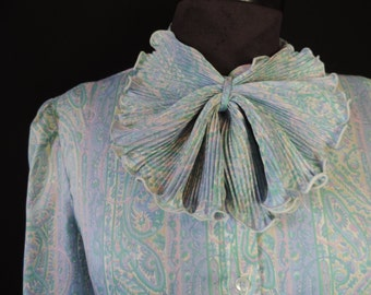 paisley bow tie blouse 70s blue levi strauss jabot secretary top plus size XL