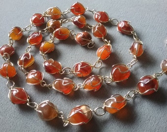Vintage Caged Wire Wrapped Natural Carnelian Gemstones Beads Necklace