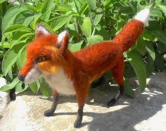 felted red fox, felt fox sculpture, red fox, needle felted fox, wild animal fox, collectible fox, fox fiber art, dog fox