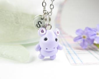 Purple Hippo necklace, Initial necklace, personalized necklace, hippo jewelry, cute unique gift, hippopotamus necklace, cute hippo animal