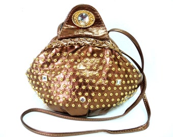 Vintage Bronze Leather Bag Gold Brass Studded Crossbody  purse made in USA