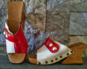 Super Funky Boho Red and White Chunky Wooden Stacked Platform Slides size 6