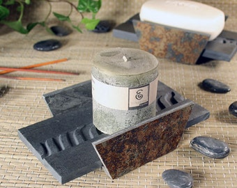 Natural Stone Soap Dish or Candle Holder - Ripples on Slate