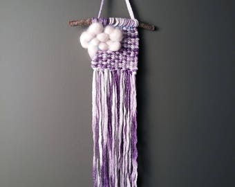 Whimsical Wall Hanging//Tapestry//Cloud//Purple Sparkle//Nursery//Childs//Dream***READY TO SHIP***