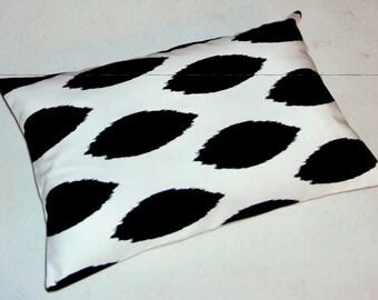 FREE SHIPPING 18x12 Black and White Cotton Ikat Print Lumbar Pillow
