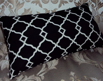 FREE SHIPPING 15x8 Indoor Outdoor Black Waverly Fretwork Lumbar Pillow