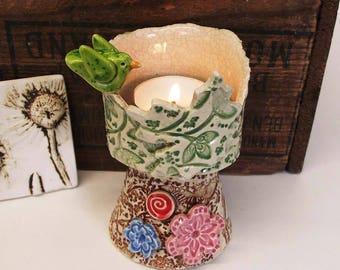 Candle holder pottery bird tree design ceramic flowers